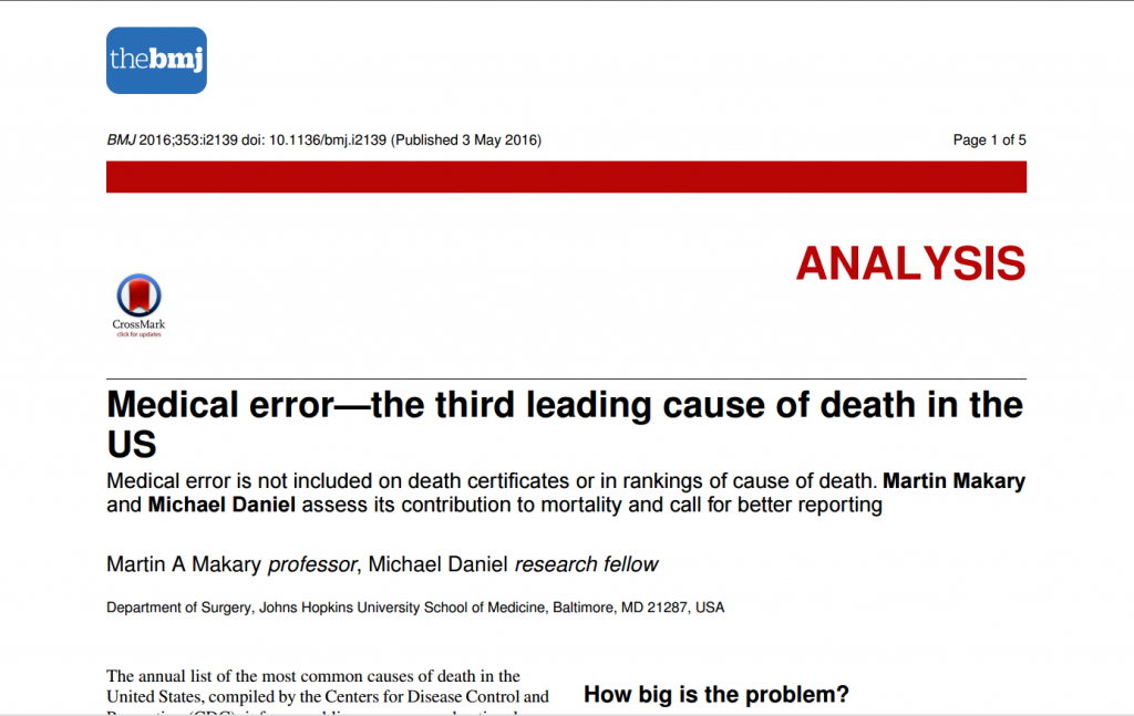 "Makary, Martin A., and Michael Daniel. ""Medical error—the third leading cause of death in the US."" BMJ 353 (2016): i2139. http://www.bmj.com/content/353/bmj.i2139"
